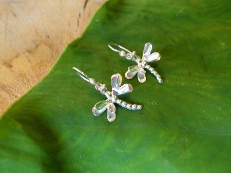 2.5cm HANG Dragonfly 925 Solid Silver Earrings