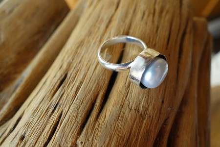Size 7 Silver Ring with Pearl