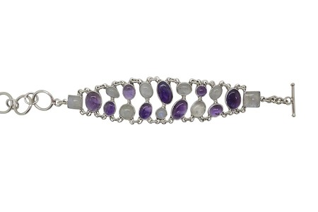 Amethyst and Moonstone Sterling Silver Bracelet