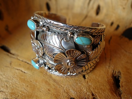 6cm CUFF with Turquoise Leaf and Flower accent Solid 925 Silver Bracelet