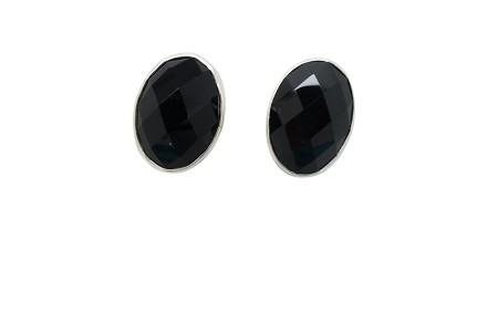 Prism Cut Onyx Sterling Silver Earrings POST