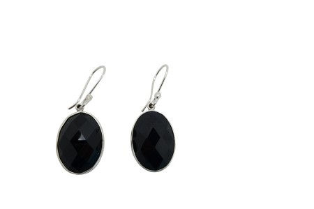 Faceted Oval Onyx Sterling Silver Earrings HANG