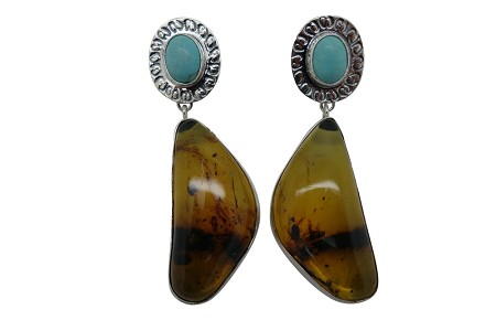 Elongated Amber with Turquoise Simple and Hammered Sterling Silver Earrings-POST