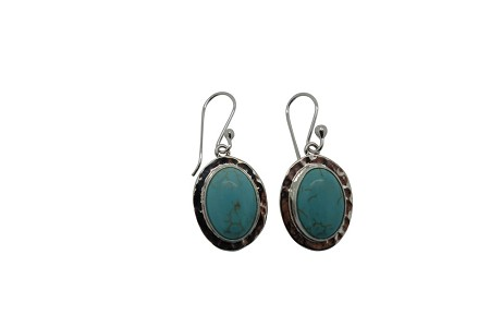 Hammered Flange Oval Turquoise Earrings-HANG