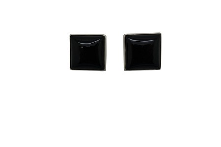 Square Onyx Simply Encased Sterling Silver Frame Earrings-POST