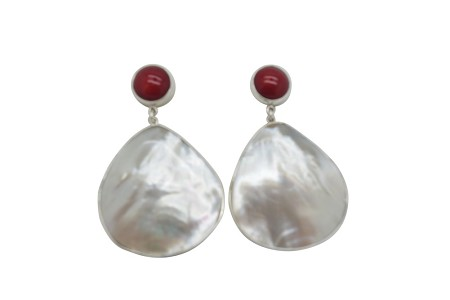 Teardrop Mother of Pearl and Coral Simple encasement sterling silver earrings-POST