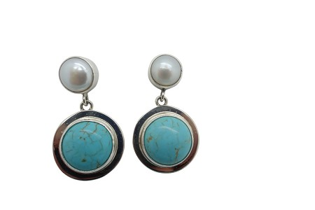 Round turquoise and pearl simple flange sterling silver earrings-POST