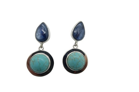 Round Turquoise and teardrop Laboradite Sterling Silver Earrings-POST