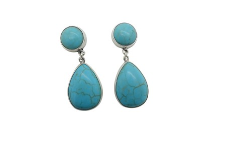 Teardrop and round Turquoise simply encased Sterling Silver Earrings-POST