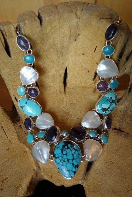 Sterling Silver Necklace Amber Larimar