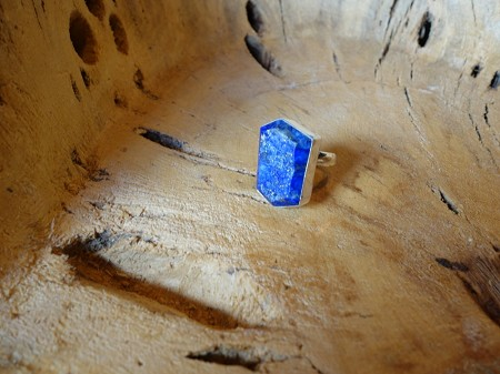 Size 7.5 Lapis 925 Solid Silver Ring