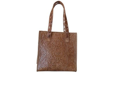 "UXMAL GDE Handtooled Leather Handbag12""x7""x13""Saddle Color"
