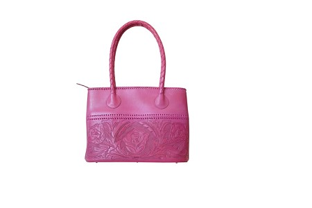 "COAHUILA GDE Handtooled Leather Handbag16""x 6"" 12""Pink Color"