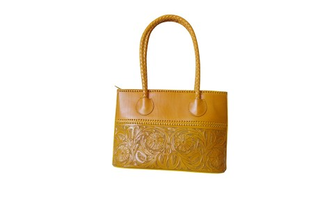 "COAHUILA GDE Handtooled Leather Handbag16""x 6"" 12""Yellow Color"