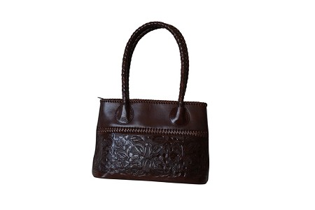 "COAHUILA CH Handtooled Leather Handbag14""x 5""x 10""Cafe Color"