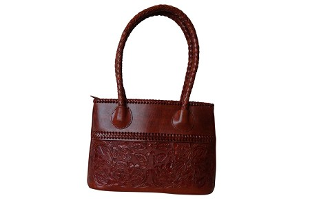 "COAHUILA CH Handtooled Leather Handbag14""x 5""x 10""T Bugati Color"