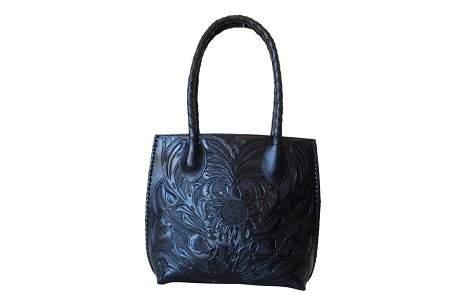 "IOWA Handtooled Leather Handbag14""x4""x11""Black Color"
