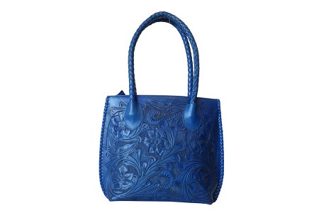 "IOWA Handtooled Leather Handbag14""x4""x11""Blue Color"