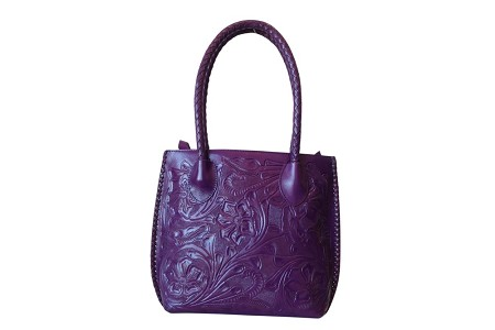 "IOWA Handtooled Leather Handbag14""x4""x11""Purple Color"