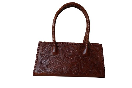 "MERIDA Handtooled Leather Handbag16""x5""x8.5""T Bugati Color"