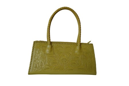 "MERIDA Handtooled Leather Handbag16""x5""x8.5""Yellow Color"