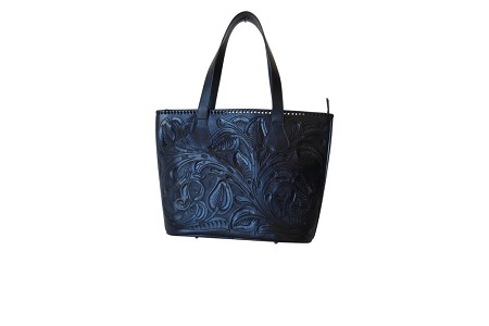CHICHENITZA Handtooled Leather Handbag16.5x7x12Black Color