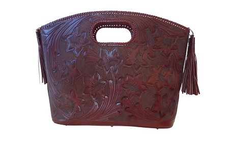 "BECAN 20.5""x 5""x 15""Tinto ColorHandtooled Leather Handbag"