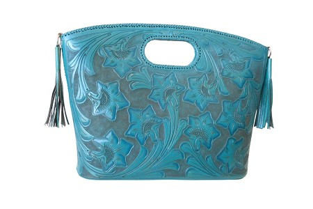 "BECAN Handtooled Leather Handbag20.5""x 5""x 15""Turquoise Color"