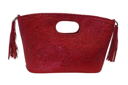 "BECAN 17""x4""x11""Red ColorHandtooled Leather Handbag"