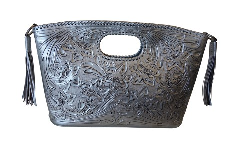"BECAN 17""x4""x11""Silver ColorHandtooled Leather Handbag"