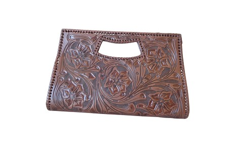 "Vallarta Grande Handtooled Leather Handbag15.5""x3""x9.5""Brown Color"
