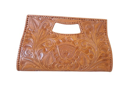 Vallarta Grande Handtooled Leather Handbag 15.5'x3'x9.5'Tangerine Color