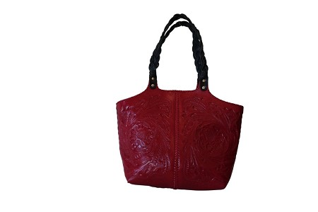"COBAN 18""x16""x4"" Red ColorHandtooled Leather Handbag"