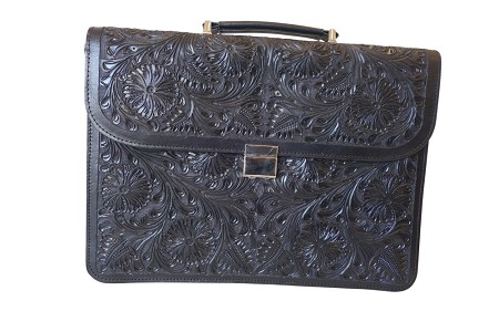 "Handtooled Leather Briefcase16""x12""x3""Black Color"