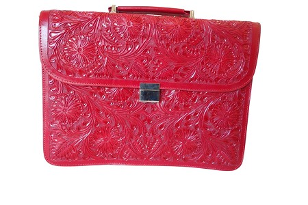 "Handtooled Leather Briefcase16""x12""x3""Red Color"