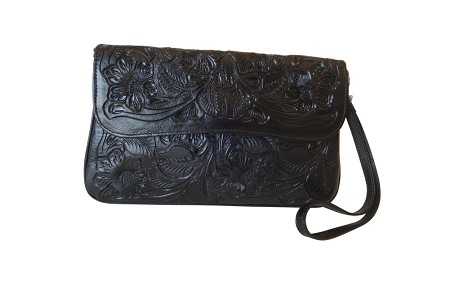 "GRANADA Handtooled Leather HandbagBlack Color10""x6""x1"""