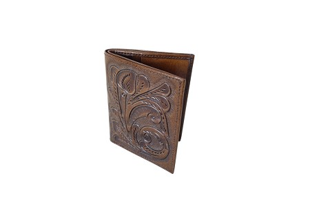 Handtooled Leather Wallet, Cafe Color