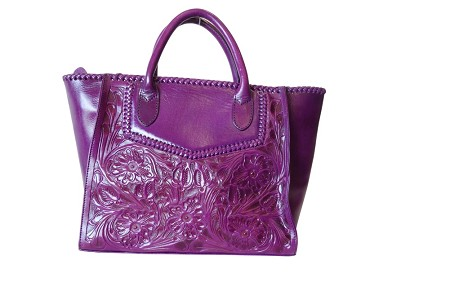 "XECUL Handtooled Leather Handbag16""x10""6""Purple Color"