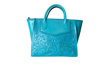 "XECUL Handtooled Leather Handbag16""x10""6""Turquoise Color"